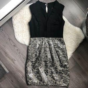 BCBGMaxAzria Tuxedo Ruffle Silver Cocktail Dress